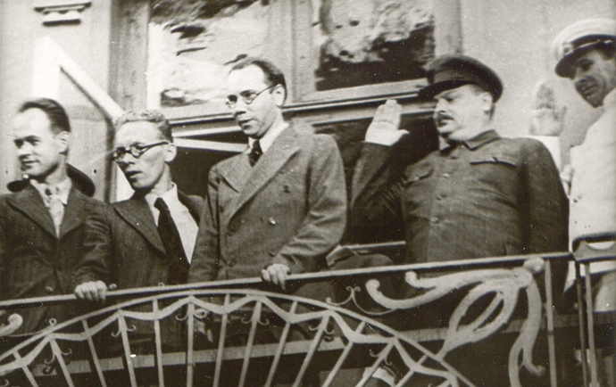 Zhdanov and the June Communists on the balcony of the Soviet embassy in June 1940