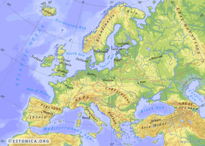 Topography Map Of Europe Estonica.  Topographic map of Europe