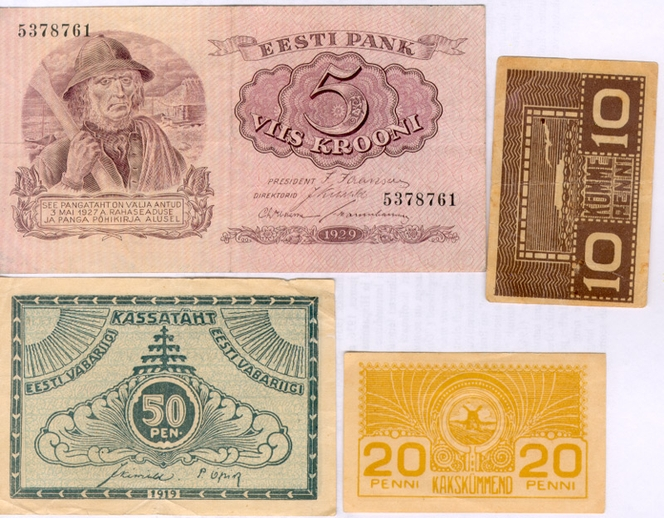 Estonian bank notes from the 1920s