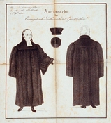 Pastor's official robe of the early 19th century.