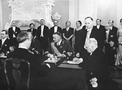 Konstantin Päts signing the new constitution