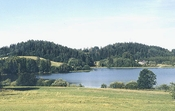 Lake Nüpli between the hillocks of the Otepää Upland
