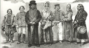 Engraving of Estonian country folk in the early 19th century