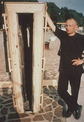 Jaan Toomik with his installation at the Venice biennial, 1997